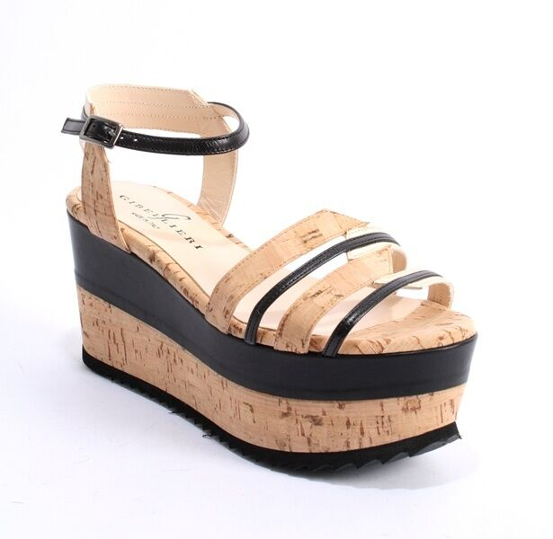 Gibellieri a72 Cork   Black   gold-Tone Leather Ankle Platform Sandal 41   US 11