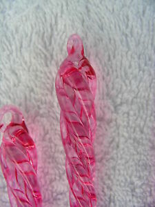 NEW-3-034-PINK-Glass-Icicles-Lot-12-Christmas-Ornaments