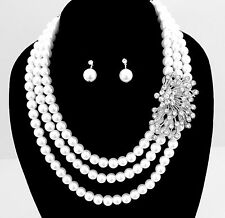 Breakfast at Tiffany's Style GLAM Side Crystal White Pearl Cluster Necklace Set