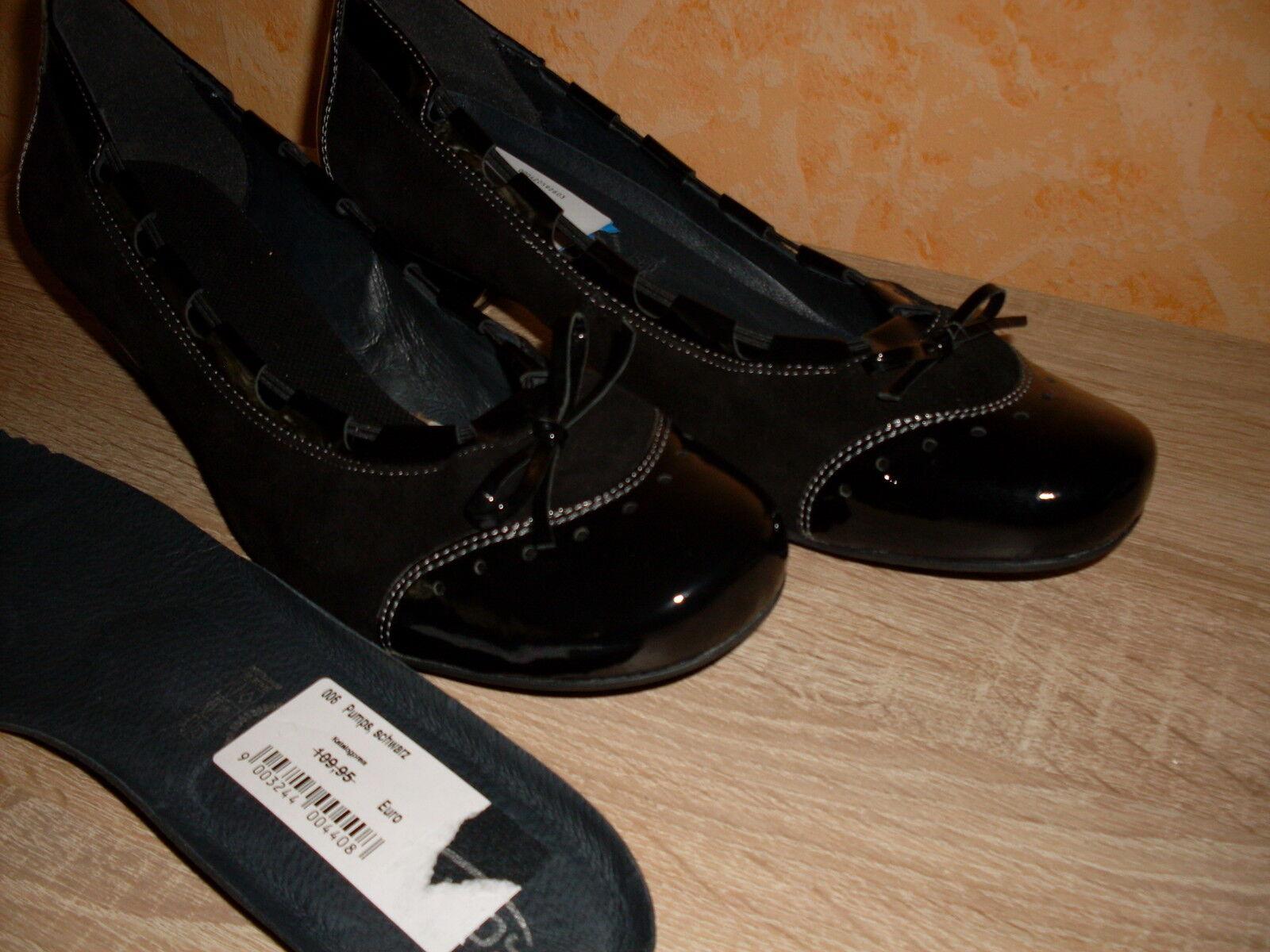 Bequeme Softwaves Pumps Damenschuh NEU Gr. 41 in schwarz Lack & Leder