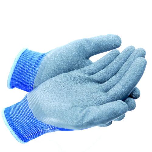 Arbeitshandschuhe 12 Paar Top Montagehandschuhe Latex Blau Grau Gr 7-11 NEU