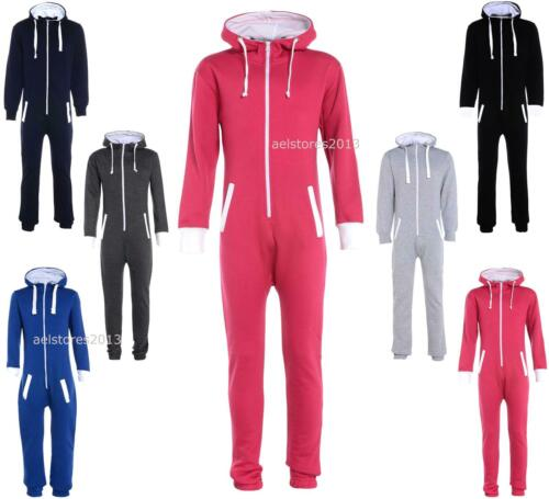 Kids Boys Girls Plain Hooded 1onesie All In One Jumpsuit Playsuit Sizes 5-16 Yrs