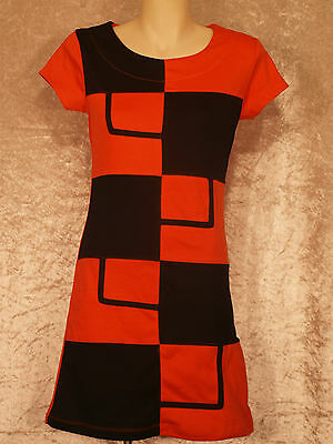 1960's Stretch Cotton Shift Style Dress NWT bright square pattern