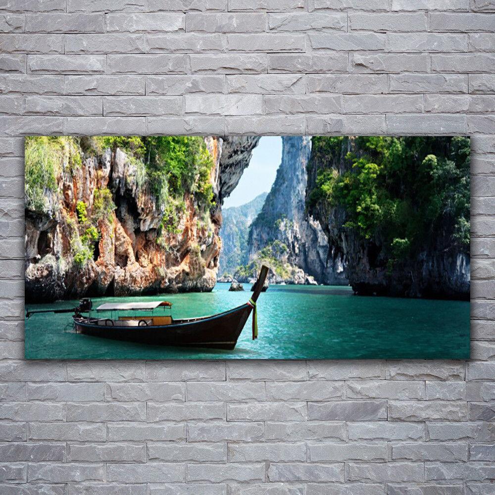 Glasbilder Wandbild Druck auf Glas 120x60 Stiefel See Felsen Landschaft