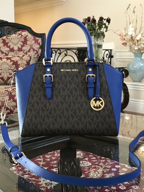 dcbb816c7a3a Michael Kors PVC Ciara Large Top Zip Satchel Bag in Brown electric Blue