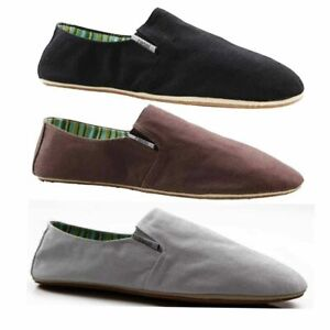 Mens Zasel Cotton Canvas Slip On Flats Black Brown White Casual Sneakers Shoes