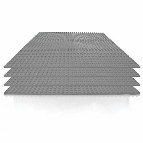 4 Pack Classic Basepla 10 x 10 Inch Gray Stackable Baseplate Building Bricks