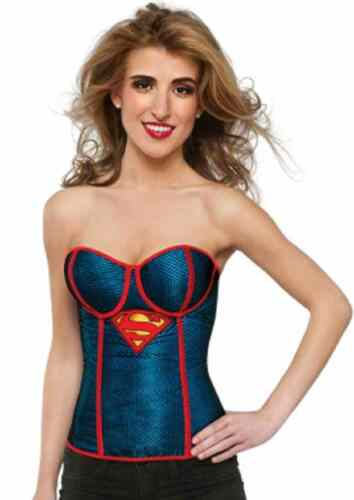 Supergirl Fishnet Corset DC Comics Superhero Halloween Adult Costume Accessory