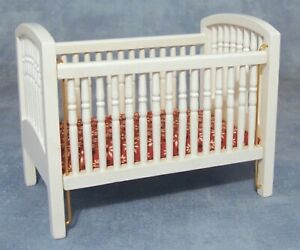 1:12 Scale Drop Sided Natural Finish Wooden Cot With A Canopy Tumdee Dolls House
