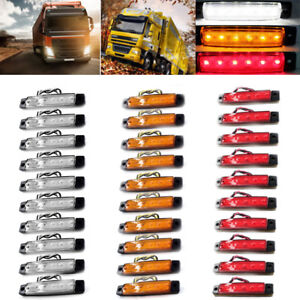 Side-Marker-Trailer-6-LED-30-PCS-Red-Amber-White-Truck-Indicators-12V-Rear-Light