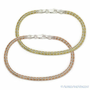 925-Sterling-Silver-3-4mm-Cleopatra-Link-Chain-Fashion-Bracelet-Italy-Italian