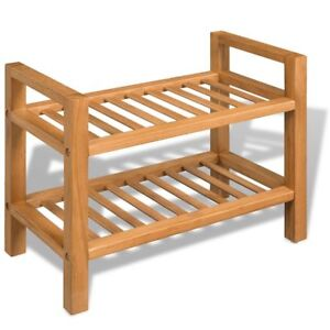 Image Is Loading Small Shoe Rack 2 Shelves Solid Oak Wood