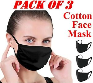 3 X Cotton Face Mask Protective Covering Washable Reusable Black Adult Unisex Uk Ebay