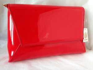 Image Is Loading New Bright Red Faux Patent Leather Evening Day