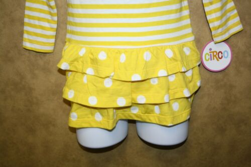 Circo Infant Toddler Girls Dress Yellow White Polka Dots Stripes Long Sleeve NEW