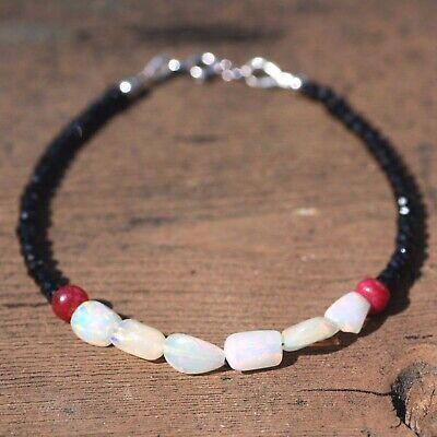 Natural Black Spinel Ombre Ruby Bracelet Solid 14k White Gold 6.9-7.08