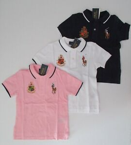 NWT Ralph Lauren Toddler Boys SS Big Pony Solid Mesh Polo Shirt 2//2t 3t 4//4t NEW