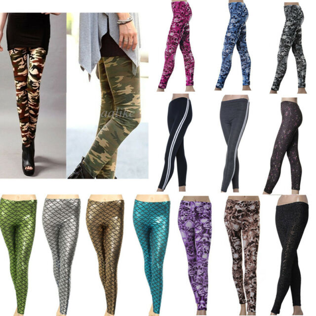 Sexy Women Stretch Fish Scale Skele Galaxy Skull Sports Soft Legging Tight Pants