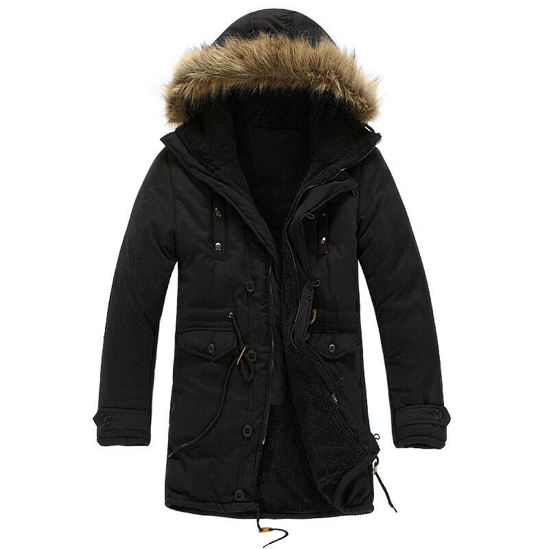 69a901fd5 Winter Men's Warm Hooded Down Coat Casual Jacket loose Parka Fur collar  Outwear