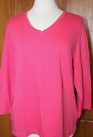 Westbound 100% Cotton Knit Xl Top Shirt T-shirt Pink 3/4 Sleeve V-neck