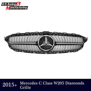 Diamond grill front grille for mercedes w205 c class c250 c300 c400 2015 2016 ebay - Grille indiciaire 2015 categorie c ...