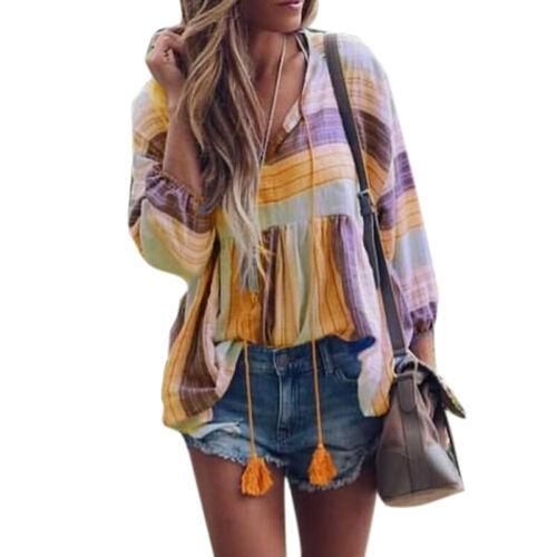 Damen Vintage Boho Bluse Top Sommer Strand Hippie Hemdbluse Lose Oberteil Tunika