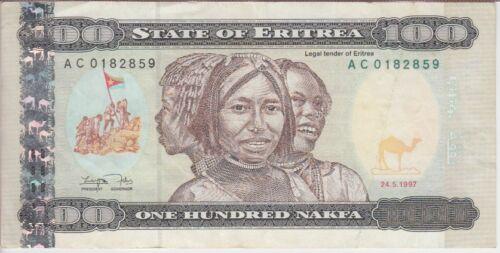 VERY FINE USA SELLER ERITREA BANKNOTE P6 100 NAKFA 1997  PFX AC
