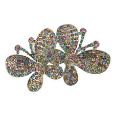 "2.35"" Summer Butterfly Pin Brooch Rhinestone Crystal Multi-color Jewelry Party"
