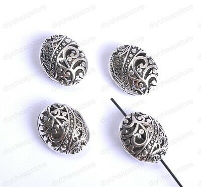 5Pcs Tibetan Silver Ellipse Shaped Hollow Spacer Beads For Jewellry 28MM JK26