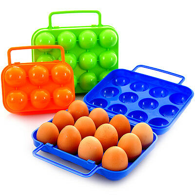 Portable Carry 6/12 Eggs Container Holder Storage Box Folding Plastic Camping