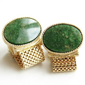 Swank Cuff Links Large Genuine Stone & Gold Tone Mesh Strap Wrap Around Style