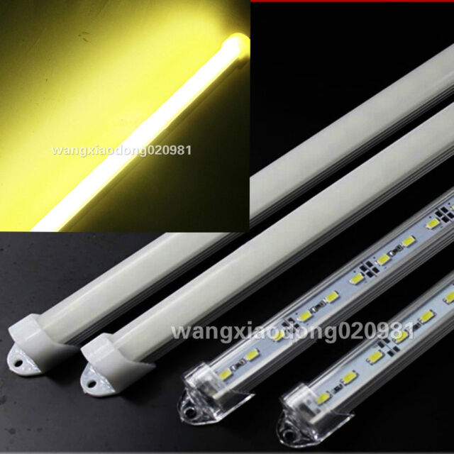 10x 50cm 5050 36 SMD LED Warm white Light Al case milk clear cover end cap 12V