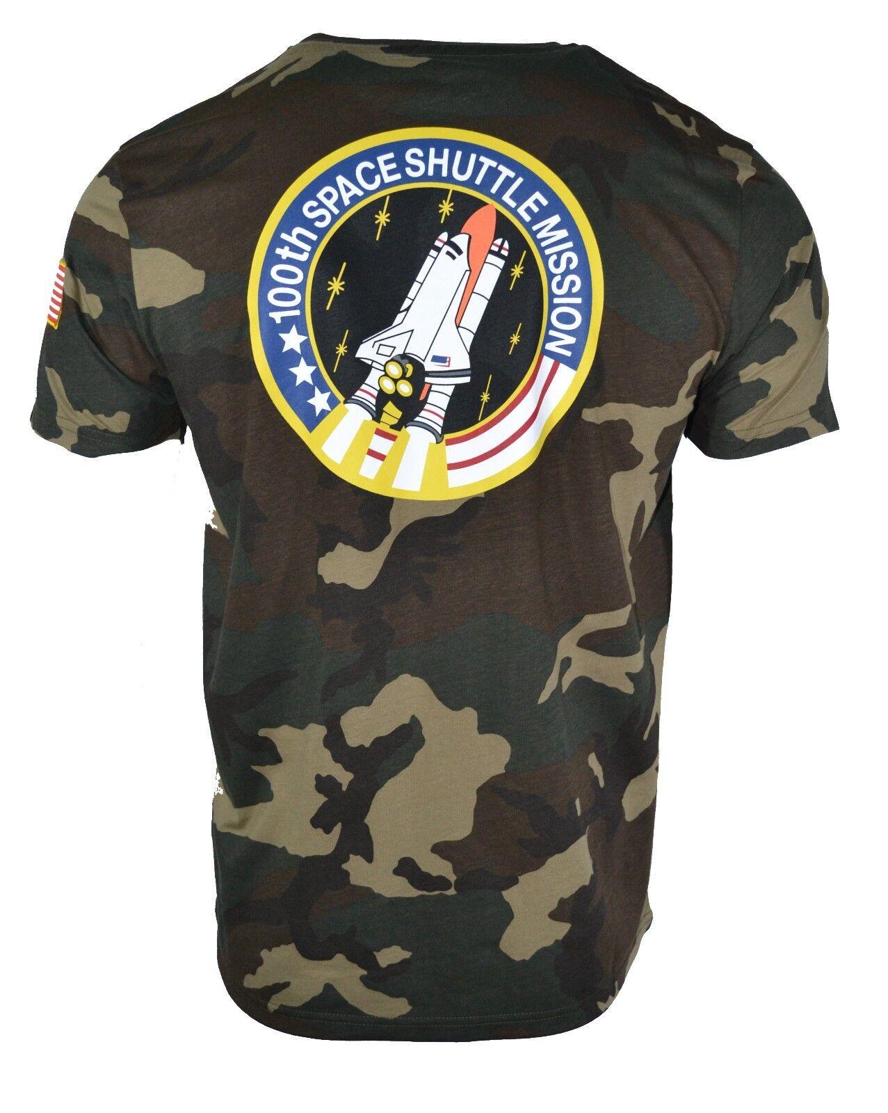 Alpha Industries Shuttle Camo NASA Space Shuttle Industries T-shirt mimetica esercito militare raro 50717c