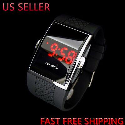 Luxury Men's Fashion LED Digital Date Sports Quartz Rubber Brecelet Wrist Watch