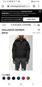 New-Canada-Goose-Chilliwack-Coyote-Fur-Hood-Bomber-Jacket-NWT-BLACK