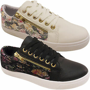 NEW WOMENS LADIES FLAT LACE UP SIDE LACE PATTERNED PUMPS TRAINERS SHOES SIZE