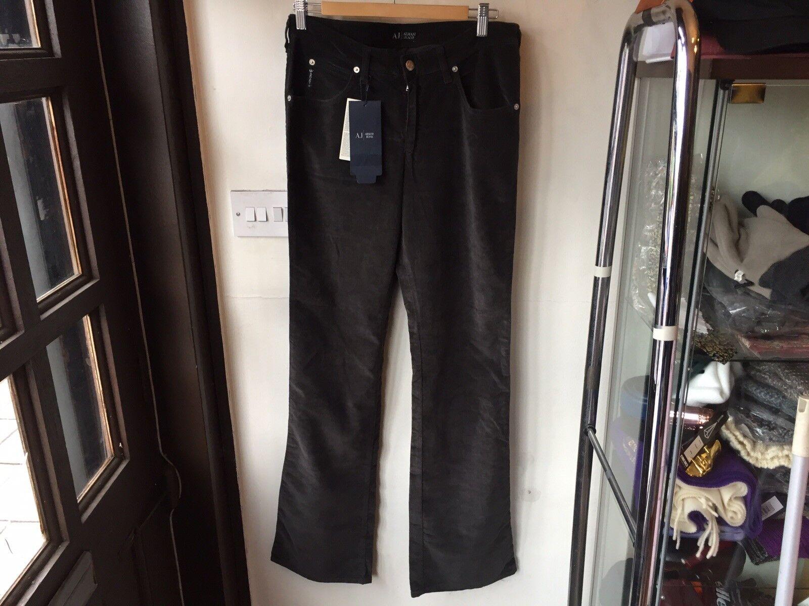 Armani pantalones de terciopelo, Pierna Recta Slim Fit, Negro Cochebón,  32X34 (nuevo)  auténtico