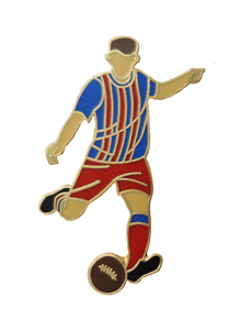 Royal Blue & Red Stripes Football Player Gold Plated Pin Badge