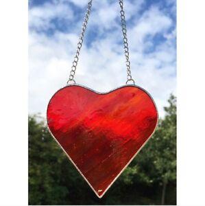 e18763d798d3 Image is loading Handmade-Stained-Glass-Red-Heart-Suncatcher-Glass-Gift-