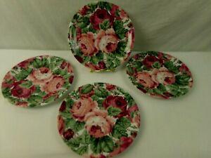Lyric-Block-Spal-Rose-Garden-Salad-Plates-8-034-Red-Pink-Chintz-Portugal-Set-of-4