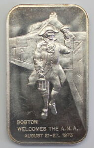1973-BOSTON-ANA-999-FINE-SILVER-ART-BAR-1-TROY-OZ-Kidd-JR-3