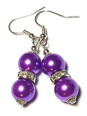 Púrpura de cristal de plata de hadas Aretes