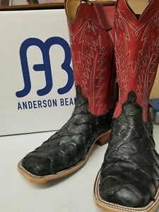 4171f9aed21 ANDERSON BEAN MEN'S 3787M RED FOOLS GOAT BIG BASS VAMP WESTERN BOOTS ...