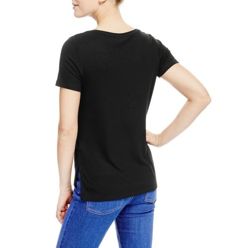 Fa M ou S High St Store Women/'s Short Sleeve Ribbed T-Shirt with Side Slit