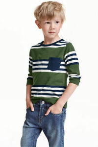 Boy-039-s-Girls-Ex-H-amp-M-RNeck-Long-Sleeve-T-Shirts-in-organic-100-cotton-Stripe-Tops