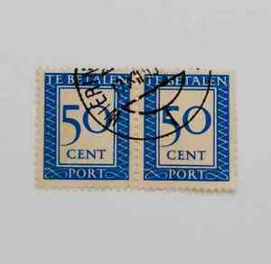 Netherlands 1947 - Postage Due Te betalen 50 Cent pair used C20