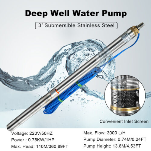 """Submersible Water Pump 0.75KW 1HP 220V 1/"""" 3000 L//H Flow Deep Well 100m Head"""