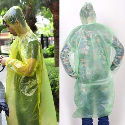 1//2//3Pcs Disposable Emergency Rain coat Raincoat Poncho for Camping Hiking Po Bj