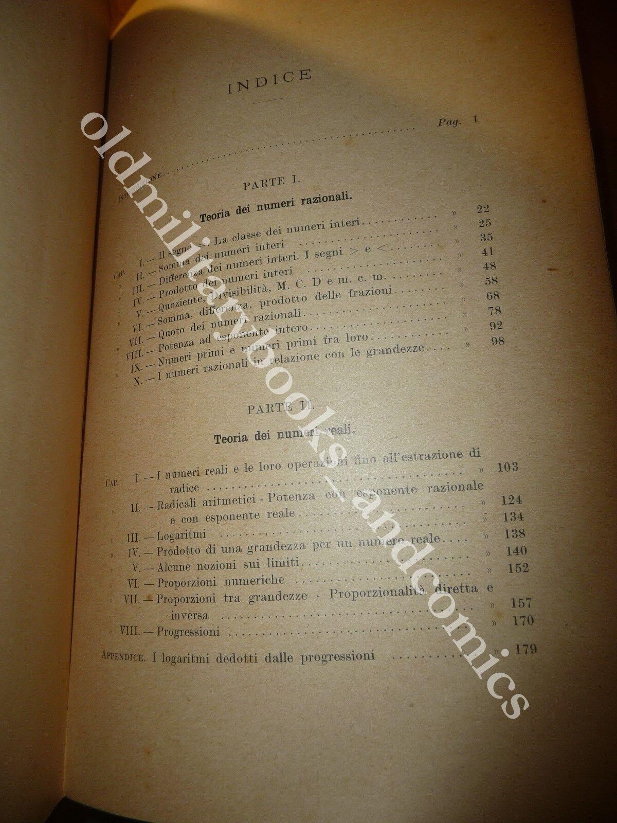 ARITMETICA ED ALGEBRA AD USO DELLE SCUOLE MEDIE SUPERIORI FRANCESCO PALATINI 1898