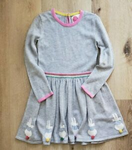 Mini Boden Girls Knit Dress Bunny Easter 4-5 Years Very Good Condition HTF